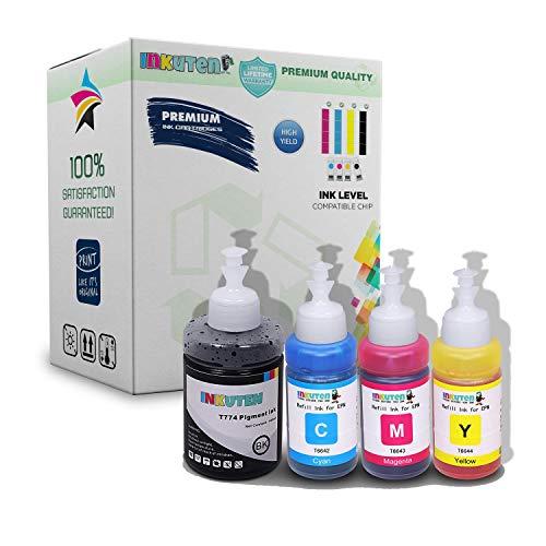 INKUTEN - 4 Pack Compatible 140ml BK 70ml CMY Refill Ink Set CIS Cartridges Ecotank T774120 T664220 T664320 - Epson Printer L200