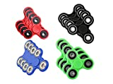 Tri-Spinner Fidget Hand Spinner Toy Stress Reducer EDC Focus Toy Relieves ADHD Anxiety and Boredom Guarantee 3 min + Spin Time! (set of 12 (4 red, 4 Blue, 4 Black, 4 Green))