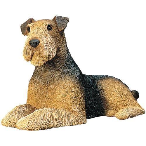 Sandicast Airedale Terrier Lying Sculpture, Mid-Size