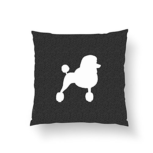 Zippered Pillow Covers Pillowcases 16x16 Inch White Standard Poodle Silhouette Pillow Cases Cushion Cover for Home Sofa (White Standard Poodle)