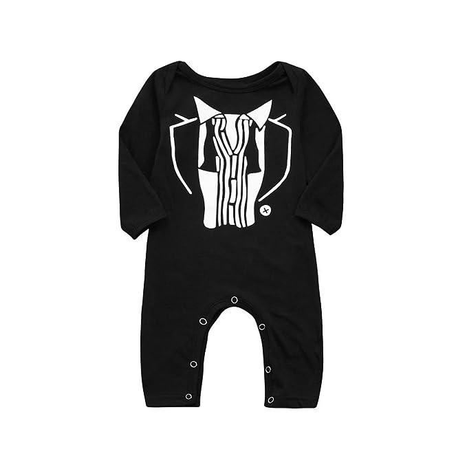 Yannerr Bebé niña nino estampado texto juego mameluco mono camiseta tops sudadera vestido recién nacido manga