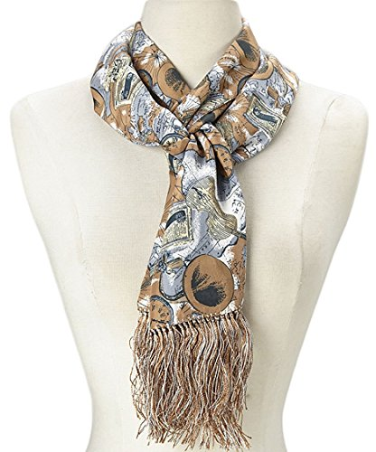 (MONIQUE Women's Unique Artistic Motif Hand Knotted Fringe 100% Silk Scarf,Taupe & Gray Violin One Size)