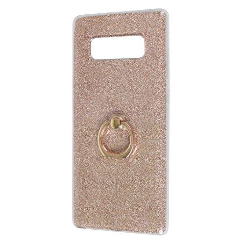 Galaxy Note 8 Funda con Anillo, Galaxy Note 8 Carcasa, Moon mood® Suave TPU + Papel Brillo Hybrid 2 en 1 con 360 Rotación Anillo Soporte Función Bling Glitter Sparkle Silicona Trasero Caso Cubierta Pr Dorado