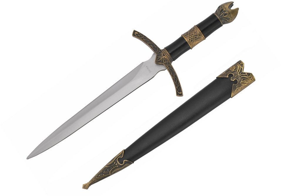 """Wuu Jau Co H-5923 Medieval Dagger with Golden Handle Design and Black Scabbard, 14"""""""