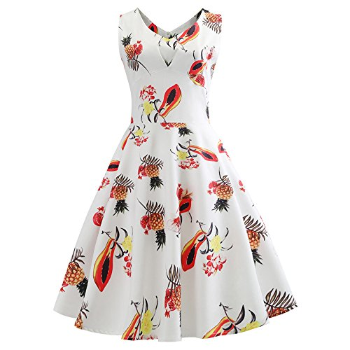 (Women Dresses Godathe Women Vintage Sleeveless V Neck Evening Printing Party Prom Swing Dress)