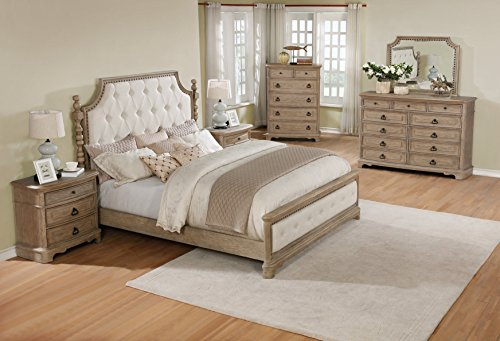 Roundhill Furniture Piraeus 296 Solid Wood Construction Bedroom Set With King  Size Bed