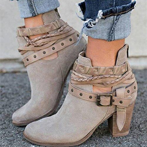 3 35 Ocio Invierno E Tobillo De Trabajo Moda Colores Para Zip Botines O Fiesta Botas Zapatos Mujer Gris Cortas 43 Exterior Oto wZqvv