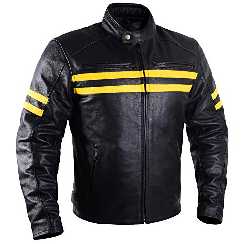 Motorcycle Leather Jackets For Men Black Moto Riding Racing Cafe Racer Retro Biker Jacket CE Armored (4XL)