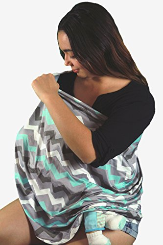 Wobble Baby Nursing Cover and Car seat canopy, for breastfeeding and baby protection, Hypoallergenic and with UV protection, (Grey Paradise Blue) by Wobble Baby (Image #3)