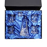 Amlong Crystal Lead Free Liquor Decanter and Glass Gift Set, 5 Pieces