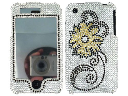 3g Faceplate (Gold Sunflower Silver White Bling Rhinestone Faceplate Diamond Crystal Hard Skin Case Cover for Apple 3 Iphone 3g 3gs 2nd 3rd)