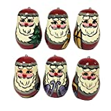 Christmas Tree Decorations Lot of 6 Wooden Shatterproof Santa Claus Christmas Ornaments / Tree Decorations, Set of 6, 2 inches, 50 mm