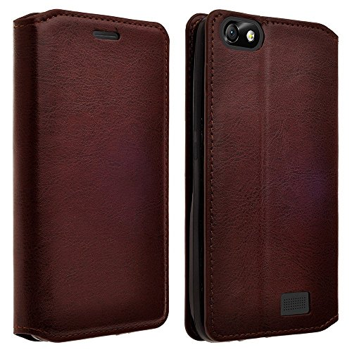 Wydan iPod Touch 6th, 5th Generation Case - Leather Wallet Style Case Folio Flip Foldable Kickstand Credit Card Cover - Brown for Apple