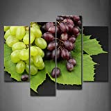 grape leaf poster - First Wall Art - Green And Purple Grapes With Leaf Wall Art Painting Pictures Print On Canvas Food The Picture For Home Modern Decoration