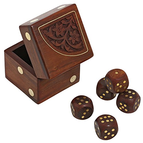 Dice Set Gift Box (Handmade Indian Dice Game Set with Decorative Storage Box - Includes 5 Wooden Dice - Unique Gifts for Adults by ShalinIndia)