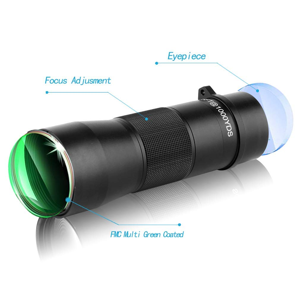 Gosky 10x42 Metal Monocular Telescope, Handy Ultra HD Monocular for Bird Watching Sports Travelling Camping Hiking Hunting and Outdoor Activities (Black) by Gosky (Image #3)
