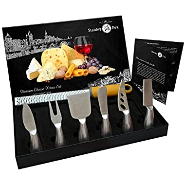 Premium 7-Piece Cheese Knife Set + Bonus Cheese Grater&Zester - 6 Cheese knives - Complete Stainless Steel Cheese Knives Collection - Best Cutlery Gift Set by Stanley Fox