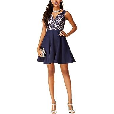 951f1ff0780 City Studio Womens Juniors Lace Sleeveless Semi-Formal Dress Navy 3 ...