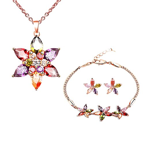 Gabrine Girls Womens 4 PCS Jewelry Set Rhinestone Crystal Studded Jasmine Flower Necklace Earrings Bracelet for Bridal Wedding Party Prom(Multicolor) - Link Multi Colored Earrings