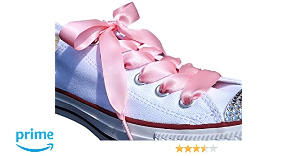 b74439c7c0dfd3 Amazon.com  Pink Flat Satin Ribbon Shoelaces