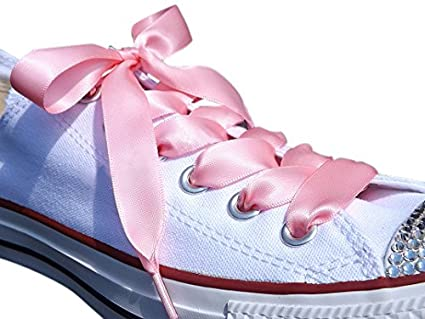 0a373439da64 Pink Satin Ribbon Shoe Laces   Shoe Strings To Fit Converse Sneakers in  Lo s   Hi Tops   Similar Kicks Pumps Trainers. From a Stylish UK Brand with  Our Pimp ...
