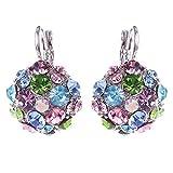 Oldlila Women's Colorful Zircon Silver Tone Eardrop Leverback Earrings Wedding Party Jewelry