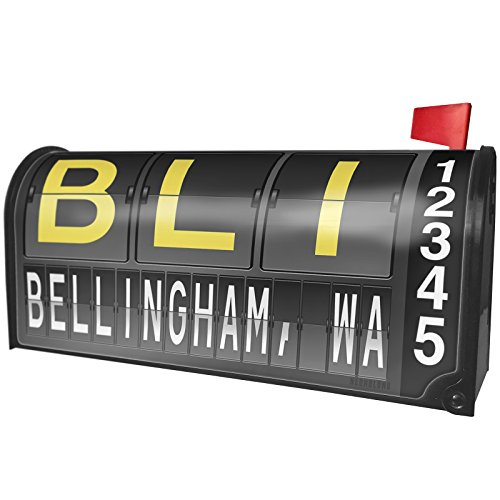 NEONBLOND BLI Airport Code for Bellingham, WA Magnetic Mailbox Cover Custom Numbers by NEONBLOND