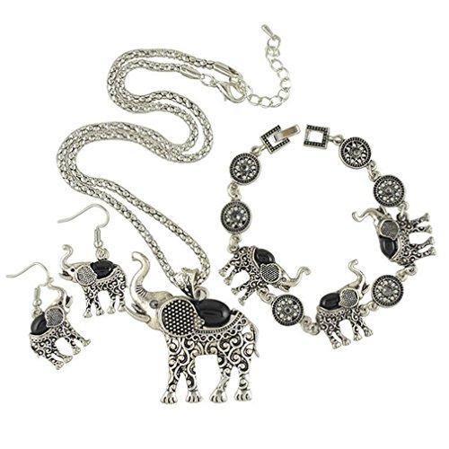 14kt Byzantine Design (G&T Lady Retro Ethnic Style Three Piece Earrings Necklace Bracelet Jewelry Elephant Shape Jewelry(C2))