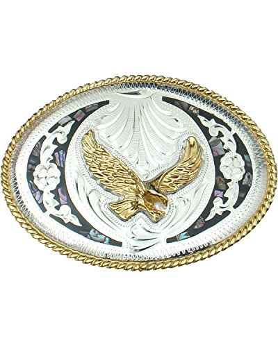 WESTERN EXPRESS Men's Silver Abalone and German Eagle Belt Buckle Silver One ()