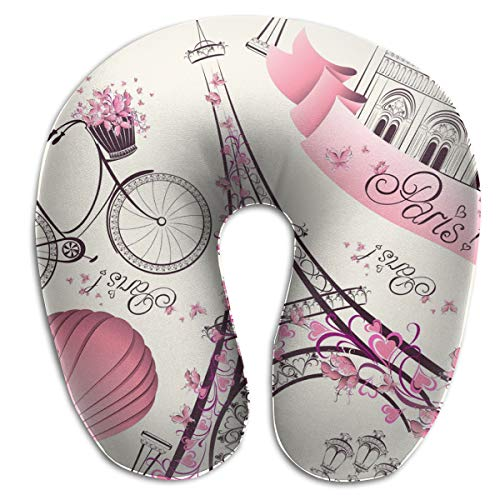NiYoung Travel Pillow - Memory Foam Pink Paris Eiffel Tower Neck, Chin, Head Cushion Support with Comfortable Zip Cover, Fashion Car/Flight Pillow for Office, Home, Neck Pain Relief Bed Head Eiffel Tower
