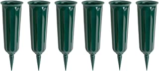 product image for Green Plastic Cemetery Vase, 6-Pack