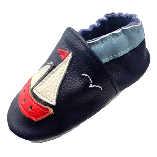iEvolve Baby Shoes Boat Baby Toddler Soft Sole Prewalker Baby First Walking Shoes Crib Shoes Baby Moccasins(Navyblue Boat, 18-24 Months) ()