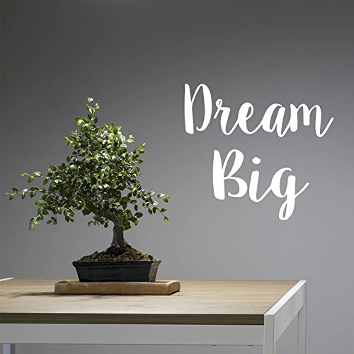 Dream Big Wall Art Decal/21'' x 23'' Decoration Vinyl Sticker (White) by Pulse Vinyl