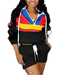 4fca49cfbac35 Women s Patchwork 2 Piece Outfits Long Sleeve Zipper Crop Top Bodycon Short  Pants Clubwear Set