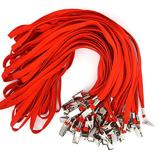 - Bird Fiy 50 Pcs Cotton Lanyard Bulldog Clip 32-inch Flat Braid Neck Lanyard for Id Cards/Badges (Red)