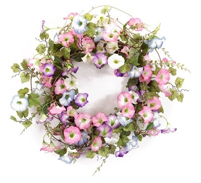 Melrose International Pink, Purple and White Morning Glory Wreath, 24