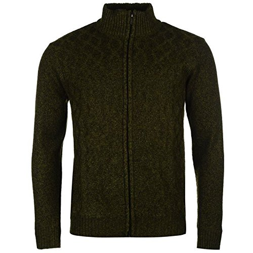 Pierre Cardin Full Zip Knit Cardigan pour homme Kaki Pull Top