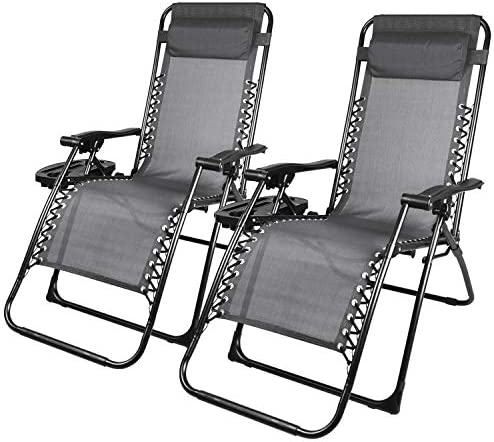 Zero Gravity Chair Lounge Chairs Outdoor Adjustable Camp Reclining Folding Chairs