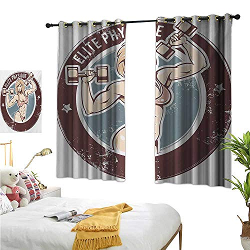 RuppertTextile Decor Curtains Retro Style Sexy Lady with Dumbbells Elite Physique Grunge Display 72