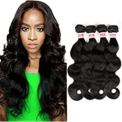 Fabeauty Brazilian Body Wave 4 Bundles Unprocessed Virgin Human Hair Weave Human Hair Bundles Natural Black Mixed Length 400g (20 22 24 24 inches)
