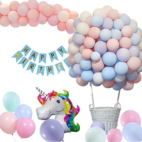 Unicorn Party Supplies with Huge Unicorn Balloons,Happy Birthday