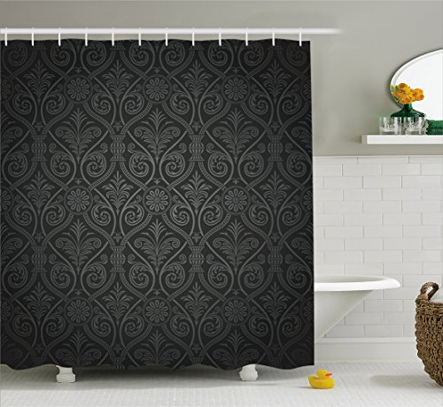 Ambesonne Damask Shower Curtain, Antique Baroque Pattern with Mild Ombre Shade Gothic Victorian Style, Fabric Bathroom Decor Set with Hooks, 84 Inches Extra Long, Sage Green Charcoal (Victorian Style Fabric)