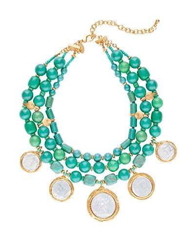 Chicos Womens Turquoise Multi Strand Coin Statement Necklace