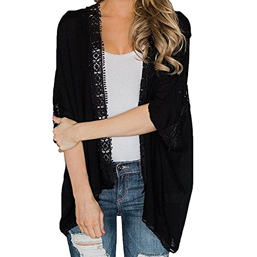 Amazon.com: Mandy Women Ladies Lace Open Cape Casual Coat ...