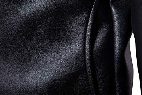 Cappuccio Classico Con Del Lungo Slim Pelle Uomini Cappotto Schwarz Sportiva Faux Di Tuta Abbigliamento Fit Moto Giacca Manicotto 0wAv4q181