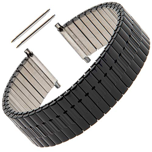 Gilden Gents Expansion 20-24mm Wide Black Stainless Steel Watch Band 552W-BL (7 1/2 inches Long, Black)
