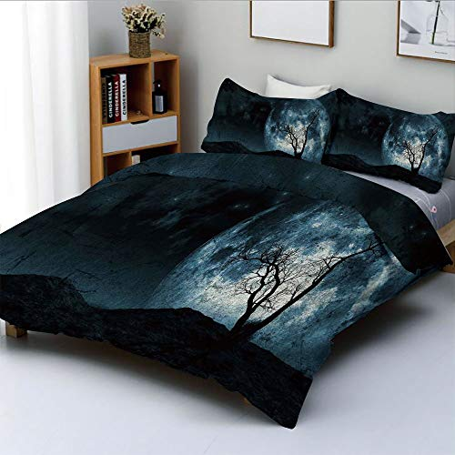 Duplex Print Duvet Cover Set Full Size,Night Moon Sky with Tree Silhouette Gothic Halloween Colors Scary Artsy BackgroundDecorative 3 Piece Bedding Set with 2 Pillow Sham,Slate Blue,Best Gift For Kids]()