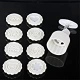 Mooncake Mold Press 75g Large With 8 Stamps For Baking, Chinese Round And Flowers Patterns Cavity Cookie Press