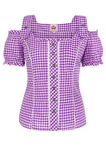 Spieth & Wensky - Damen Trachten Bluse kariert in verschiedenen Farben, Pilla (009567-0115), Größe:48;Farbe:Beere/Weiß (2543)