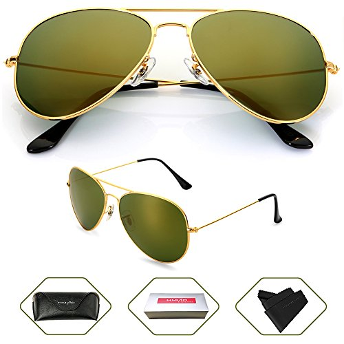 Aviator Sunglasses Polarized for Men Women,Flash Mirror Lens UV400 Sunglasses Eyewear with Sun Glasses Case (Gold,Dark Green Mixed/Gold Frame, - Sunglas Aviator